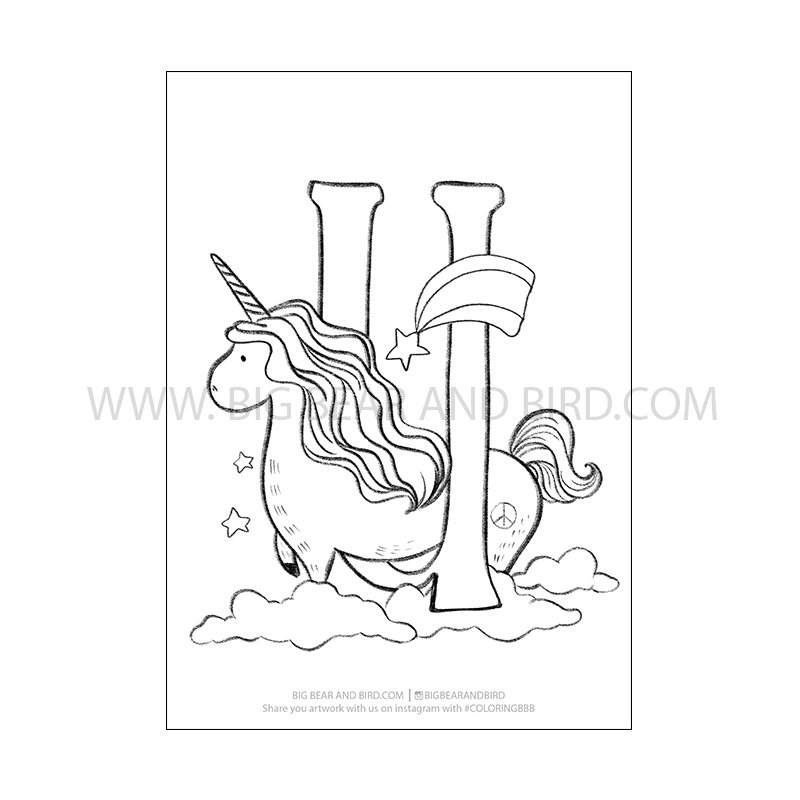 U for Unicorn – Alphabet Animals Coloring Page – Learn by ...